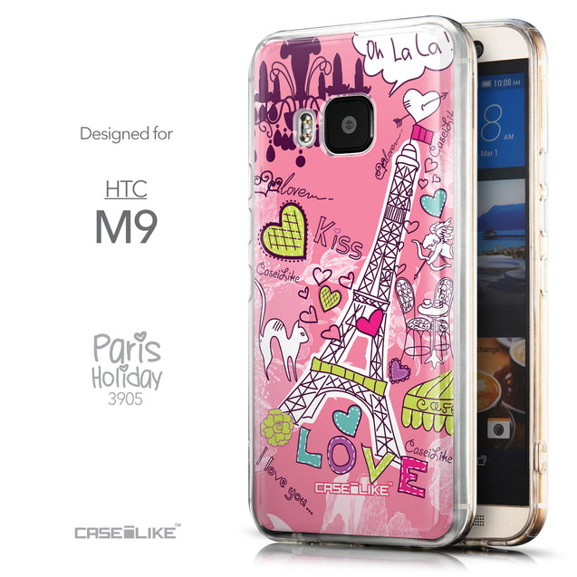 Front & Side View - CASEiLIKE HTC One M9 back cover Paris Holiday 3905