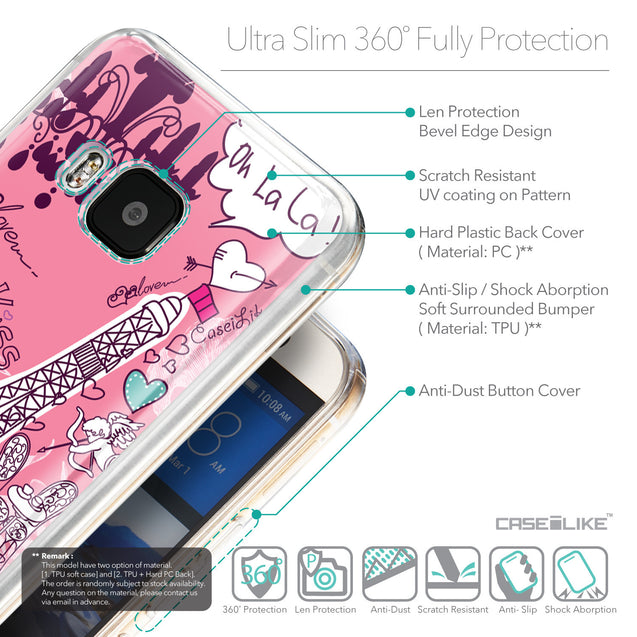 Details in English - CASEiLIKE HTC One M9 back cover Paris Holiday 3905