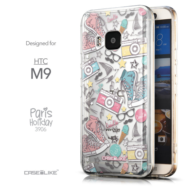 Front & Side View - CASEiLIKE HTC One M9 back cover Paris Holiday 3906