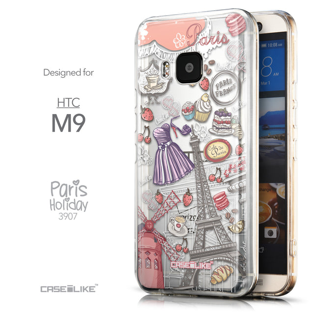 Front & Side View - CASEiLIKE HTC One M9 back cover Paris Holiday 3907