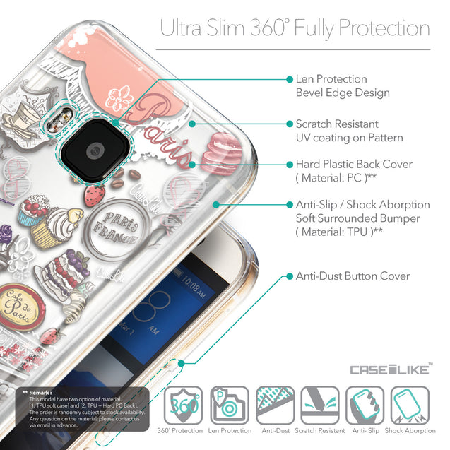 Details in English - CASEiLIKE HTC One M9 back cover Paris Holiday 3907