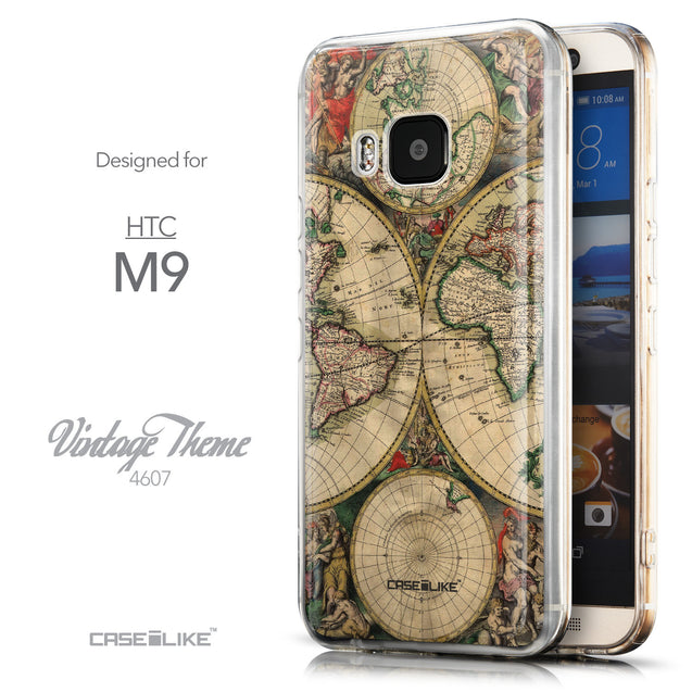 Front & Side View - CASEiLIKE HTC One M9 back cover World Map Vintage 4607
