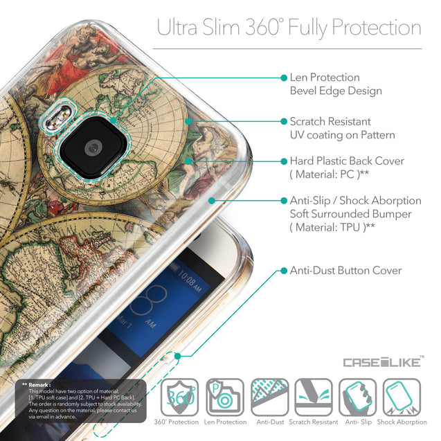 Details in English - CASEiLIKE HTC One M9 back cover World Map Vintage 4607