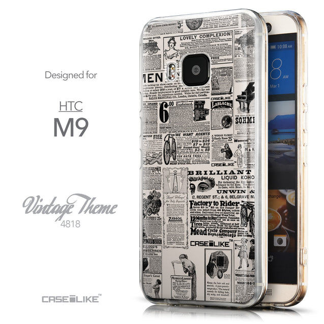 Front & Side View - CASEiLIKE HTC One M9 back cover Vintage Newspaper Advertising 4818