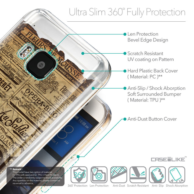 Details in English - CASEiLIKE HTC One M9 back cover Vintage Newspaper Advertising 4819