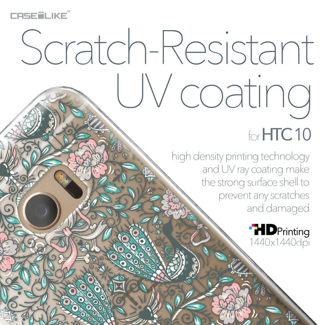 HTC 10 case Roses Ornamental Skulls Peacocks 2226 with UV-Coating Scratch-Resistant Case | CASEiLIKE.com