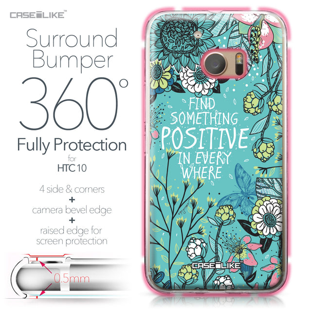 HTC 10 case Blooming Flowers Turquoise 2249 Bumper Case Protection | CASEiLIKE.com