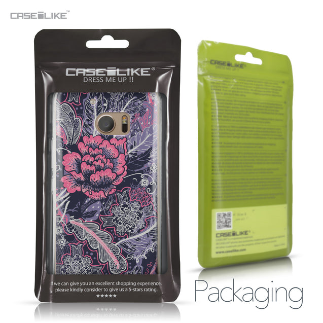 HTC 10 case Vintage Roses and Feathers Blue 2252 Retail Packaging | CASEiLIKE.com