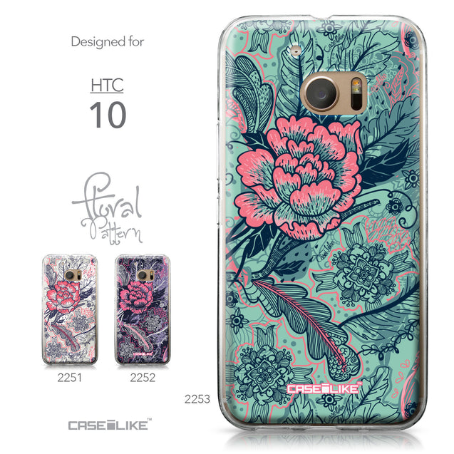 HTC 10 case Vintage Roses and Feathers Turquoise 2253 Collection | CASEiLIKE.com