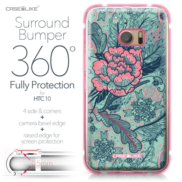 HTC 10 case Vintage Roses and Feathers Turquoise 2253 Bumper Case Protection | CASEiLIKE.com