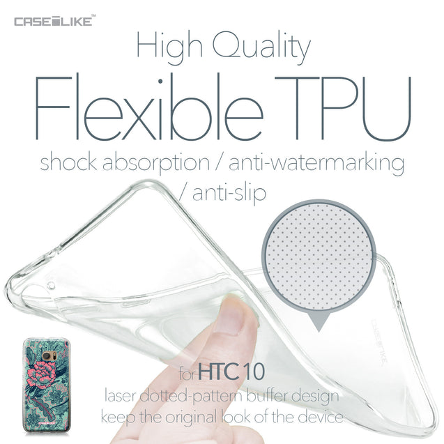HTC 10 case Vintage Roses and Feathers Turquoise 2253 Soft Gel Silicone Case | CASEiLIKE.com