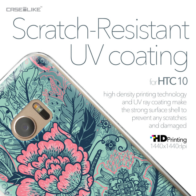 HTC 10 case Vintage Roses and Feathers Turquoise 2253 with UV-Coating Scratch-Resistant Case | CASEiLIKE.com