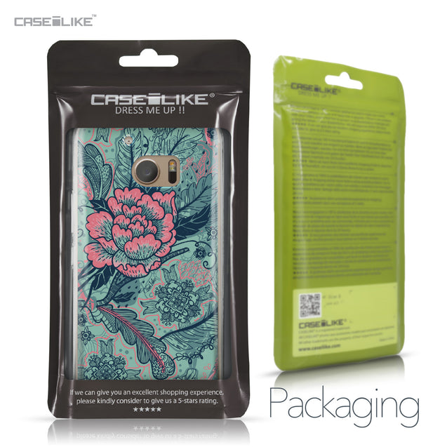 HTC 10 case Vintage Roses and Feathers Turquoise 2253 Retail Packaging | CASEiLIKE.com