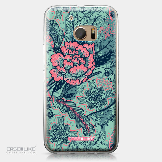 HTC 10 case Vintage Roses and Feathers Turquoise 2253 | CASEiLIKE.com