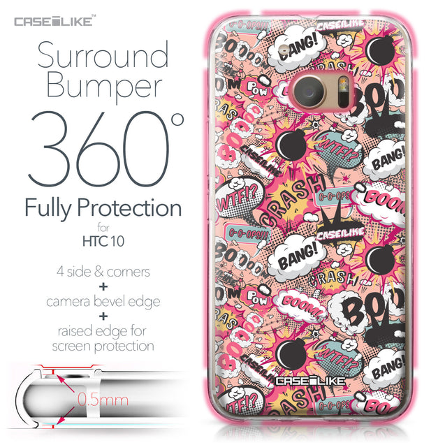 HTC 10 case Comic Captions Pink 2912 Bumper Case Protection | CASEiLIKE.com