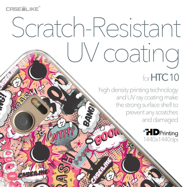 HTC 10 case Comic Captions Pink 2912 with UV-Coating Scratch-Resistant Case | CASEiLIKE.com