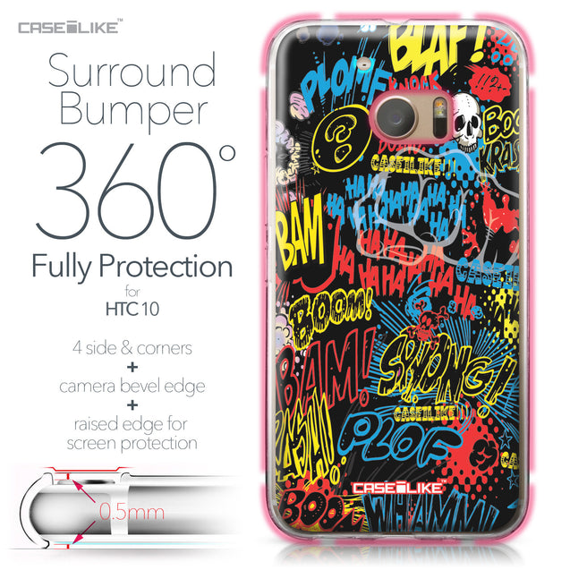 HTC 10 case Comic Captions Black 2915 Bumper Case Protection | CASEiLIKE.com
