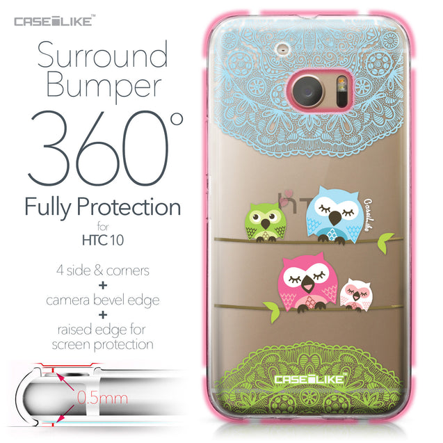 HTC 10 case Owl Graphic Design 3318 Bumper Case Protection | CASEiLIKE.com