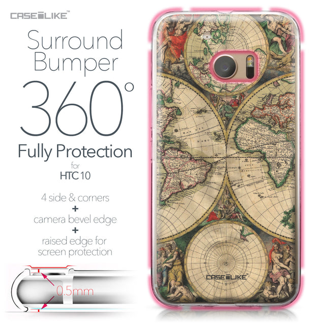 HTC 10 case World Map Vintage 4607 Bumper Case Protection | CASEiLIKE.com