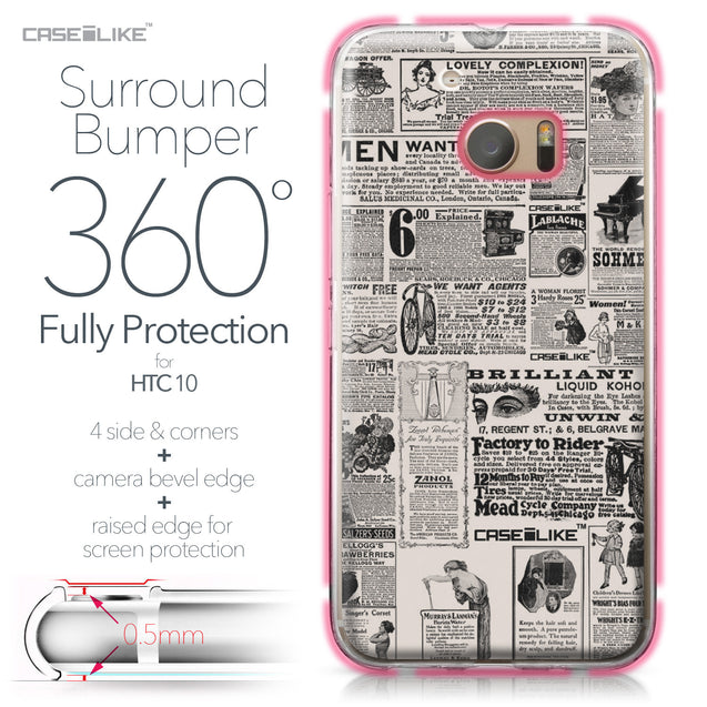 HTC 10 case Vintage Newspaper Advertising 4818 Bumper Case Protection | CASEiLIKE.com