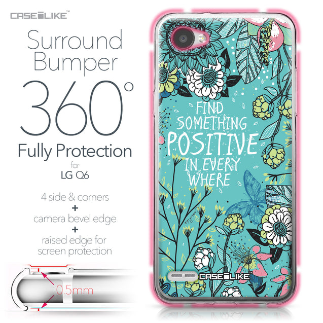 LG Q6 case Blooming Flowers Turquoise 2249 Bumper Case Protection | CASEiLIKE.com