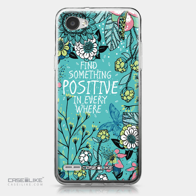 LG Q6 case Blooming Flowers Turquoise 2249 | CASEiLIKE.com