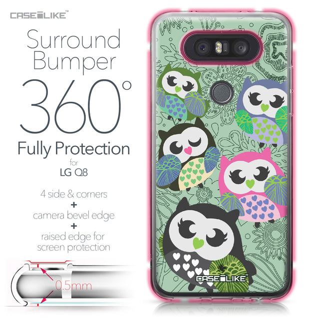LG Q8 case Owl Graphic Design 3313 Bumper Case Protection | CASEiLIKE.com