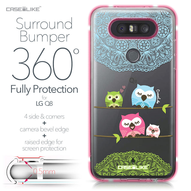 LG Q8 case Owl Graphic Design 3318 Bumper Case Protection | CASEiLIKE.com