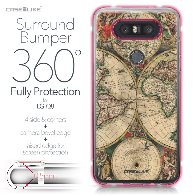 LG Q8 case World Map Vintage 4607 Bumper Case Protection | CASEiLIKE.com