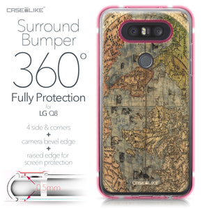 LG Q8 case World Map Vintage 4608 Bumper Case Protection | CASEiLIKE.com