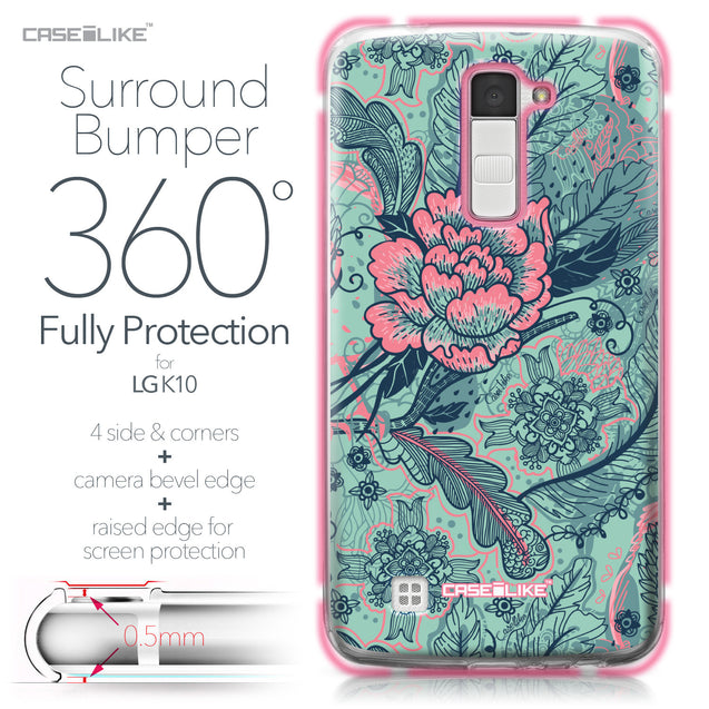 LG K10 case Vintage Roses and Feathers Turquoise 2253 Bumper Case Protection | CASEiLIKE.com