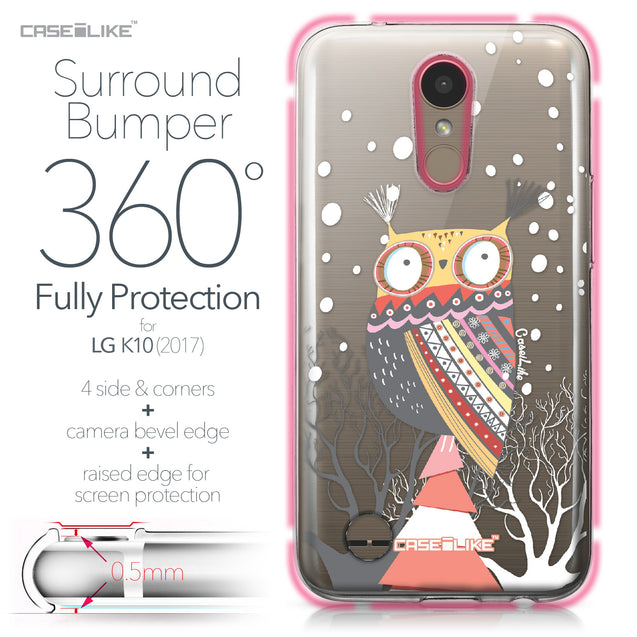 LG K10 2017 case Owl Graphic Design 3317 Bumper Case Protection | CASEiLIKE.com