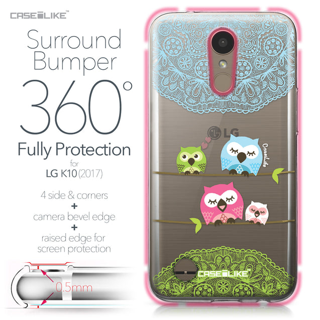 LG K10 2017 case Owl Graphic Design 3318 Bumper Case Protection | CASEiLIKE.com