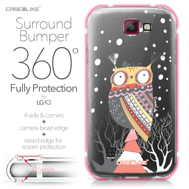 LG K3 case Owl Graphic Design 3317 Bumper Case Protection | CASEiLIKE.com