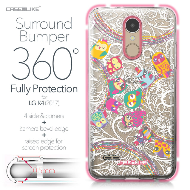 LG K4 2017 case Owl Graphic Design 3316 Bumper Case Protection | CASEiLIKE.com