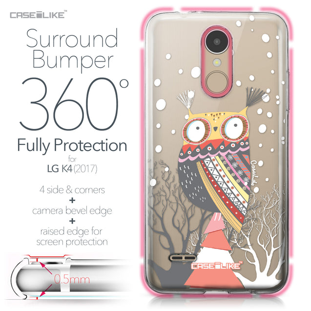 LG K4 2017 case Owl Graphic Design 3317 Bumper Case Protection | CASEiLIKE.com