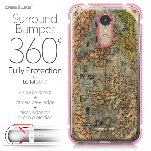 LG K4 2017 case World Map Vintage 4608 Bumper Case Protection | CASEiLIKE.com