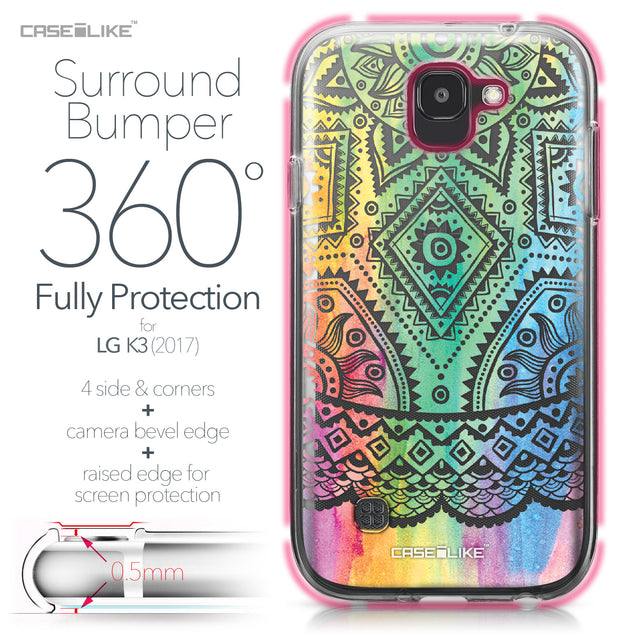 LG K3 2017 case Indian Line Art 2064 Bumper Case Protection | CASEiLIKE.com