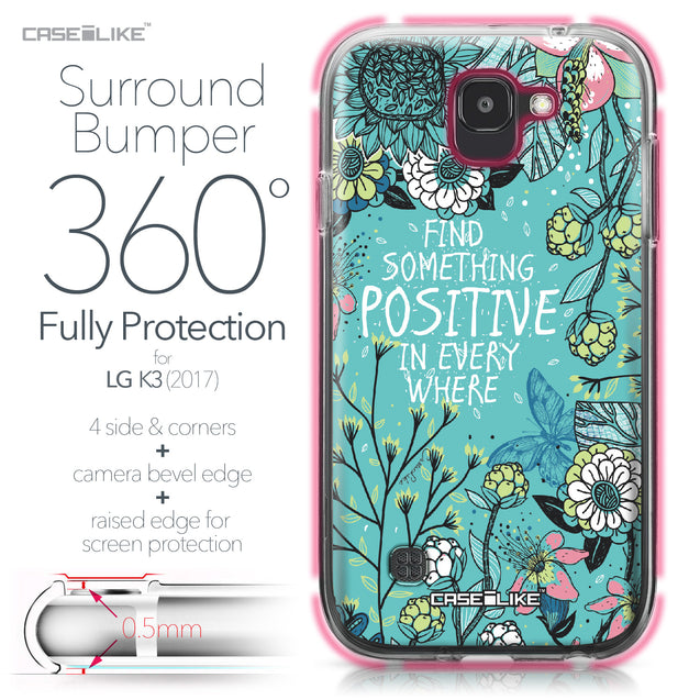 LG K3 2017 case Blooming Flowers Turquoise 2249 Bumper Case Protection | CASEiLIKE.com