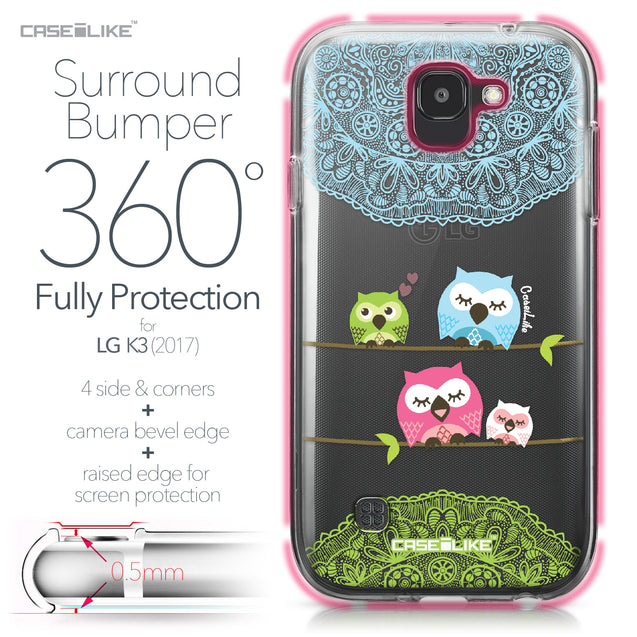 LG K3 2017 case Owl Graphic Design 3318 Bumper Case Protection | CASEiLIKE.com