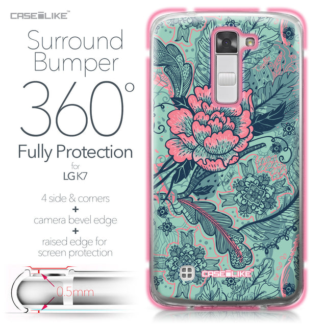 LG K7 case Vintage Roses and Feathers Turquoise 2253 Bumper Case Protection | CASEiLIKE.com