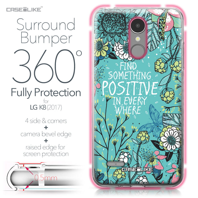 LG K8 2017 case Blooming Flowers Turquoise 2249 Bumper Case Protection | CASEiLIKE.com
