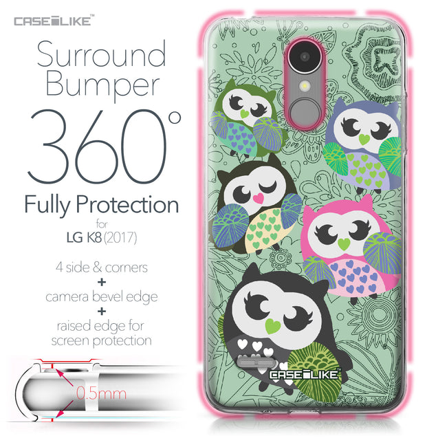LG K8 2017 case Owl Graphic Design 3313 Bumper Case Protection | CASEiLIKE.com