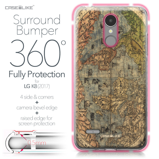 LG K8 2017 case World Map Vintage 4608 Bumper Case Protection | CASEiLIKE.com