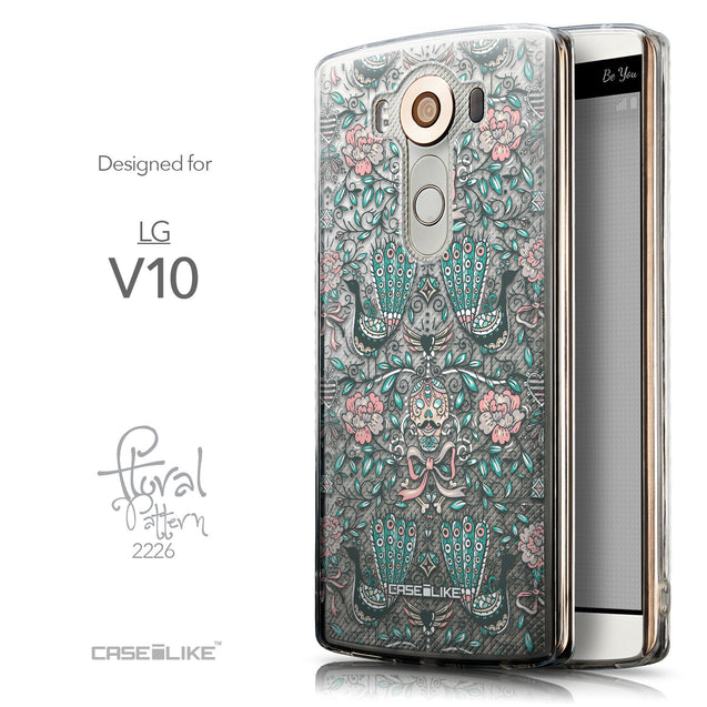 Front & Side View - CASEiLIKE LG V10 back cover Roses Ornamental Skulls Peacocks 2226