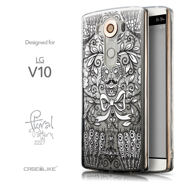 Front & Side View - CASEiLIKE LG V10 back cover Roses Ornamental Skulls Peacocks 2227
