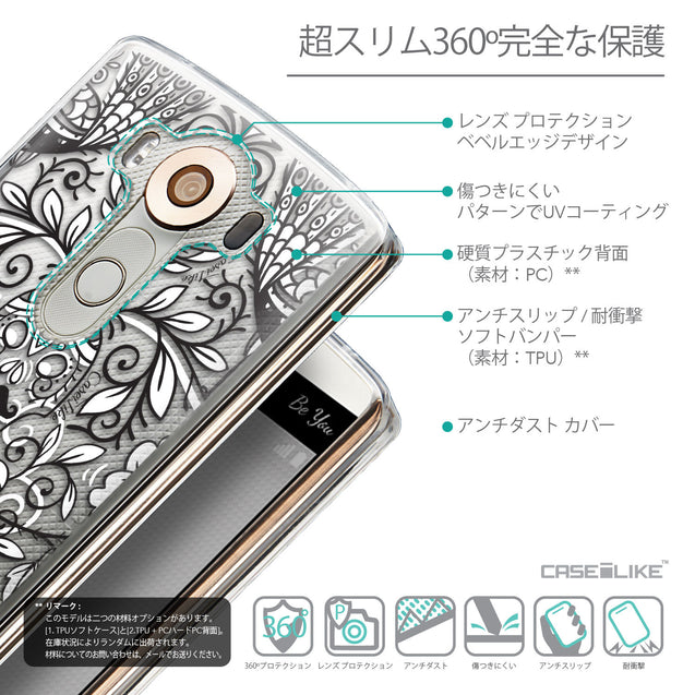 Details in Japanese - CASEiLIKE LG V10 back cover Roses Ornamental Skulls Peacocks 2227