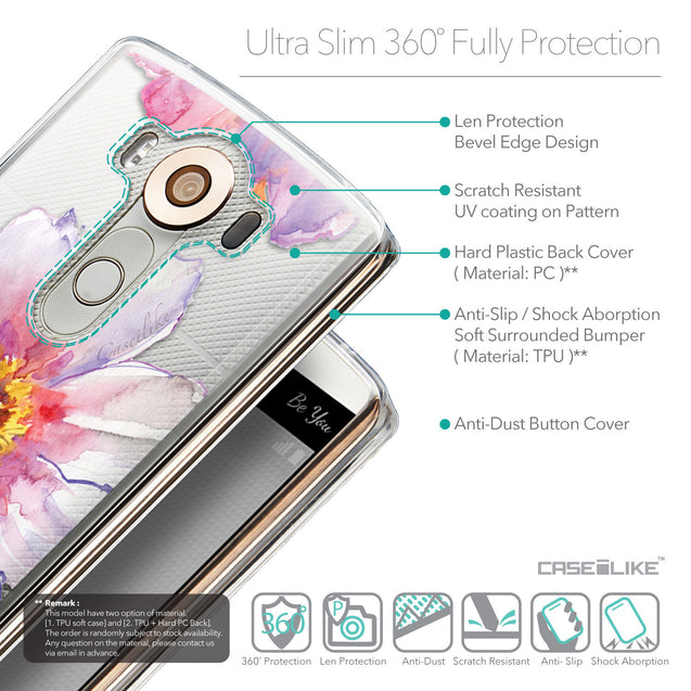 Details in English - CASEiLIKE LG V10 back cover Watercolor Floral 2231