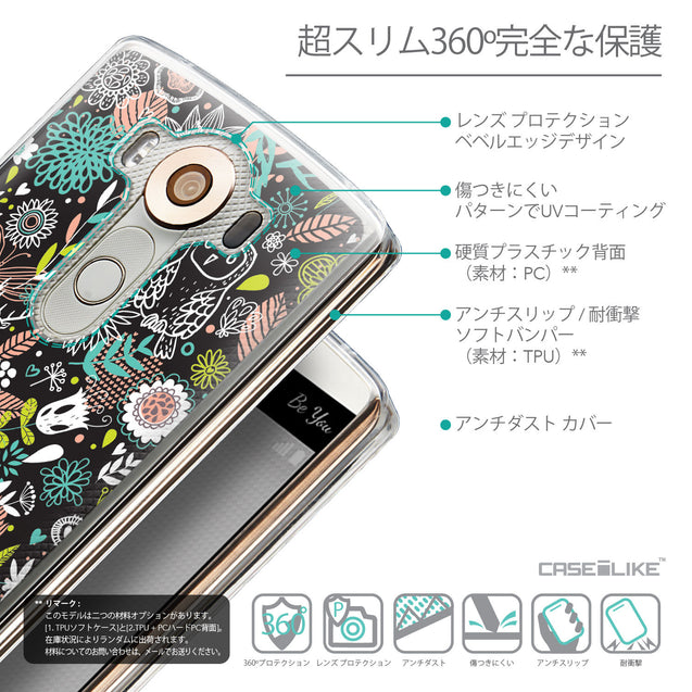 Details in Japanese - CASEiLIKE LG V10 back cover Spring Forest Black 2244