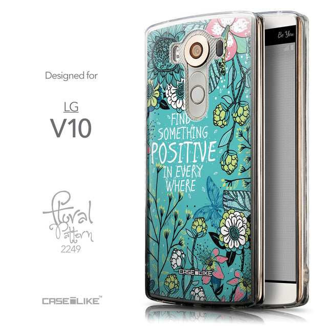 Front & Side View - CASEiLIKE LG V10 back cover Blooming Flowers Turquoise 2249